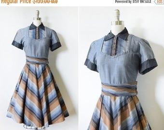 20% OFF SALE vintage 50s dress, 1950s chevron dress, rockabilly dress with rhinestone buttons, chambray shirt dress, medium m