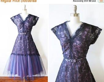 20% OFF SALE 50s purple lace dress, vintage 1950s lace party dress, 1950s formal dress, small s
