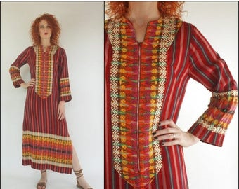 SUMMER SALE Vintage 70's Mexican Guatemalan Embroidered Hippie Boho Bell sleeve Cotton Sriped Ethnic Maxi dress XS S