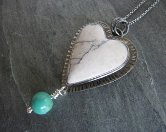White Buffalo Turquoise Pendant in Sterling Silver with Turquoise Bead