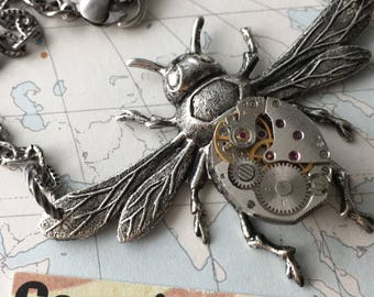 Steampunk Necklace Bee Jewelry Vintage Watch Movement Antiqued Silver Plated Gothic Victorian Rustic Finish