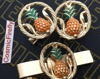 Men's Vintage Cufflinks Vintage Pineapple Cufflinks Pineapple Tie Bar Mid Century Vintage