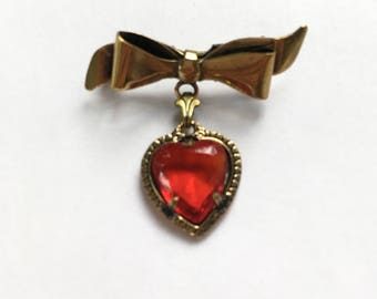 Vintage Ribbon Bow Pin Brooch With Red Glass Heart Dangle