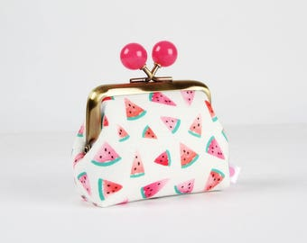 Metal frame coin purse with color bobbles - Watermelon slices on white - Color mum / Tropical fruits / green fuchsia pink red peach teal