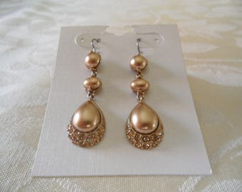Gorgeous Sparkling Champagne Color Rhinestones Dangle Earrings