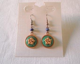 Vintage Silver/Gold Tone Green Lapis Dangle Earrings