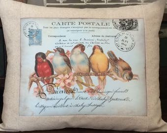 French Script Carte Postale Rainbow of French Birds Postcard Pillow, Cottage Style Bird Pillow and Insert, Cottage Throw Pillow Cover
