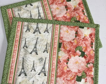 Eiffel Tower Quilted Mug Rugs Set of Two, Shabby Chic Quilted Mini Placemats, Green Pink Floral Mug Rugs, Floral Quilted Coasters