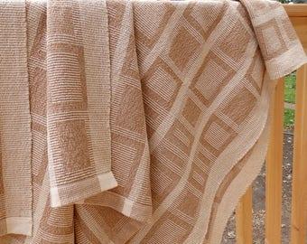 Handwoven Organic Cotton Throw in Brown, Cream & Light Green Blocks