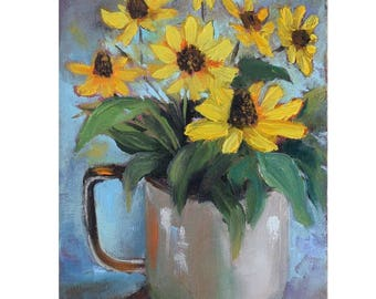 Small Still Life Painting Black Eyed Susans In Enamelware Pot Blue Background Original Canvas Oil Painting by Cheri Wollenberg