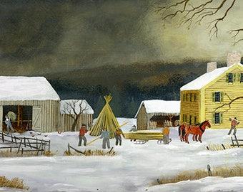 Preparing Hops Poles in Winter - Original painting by C. Munro