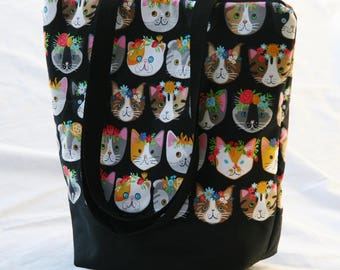 Fancy Felines on Black Cat Faces-Insulated Lunch Bag-Tote-Eco-Friendly and Washable-Water- Mildew Resistant Interior-Extra Large-Tall Size