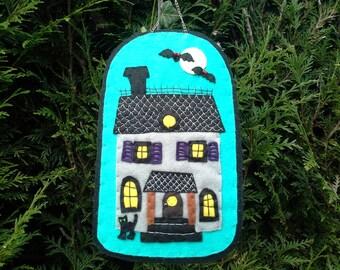 Textile Art Haunted House Halloween