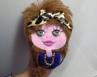 Felt Brooch art Doll Nikita Leopard Headband