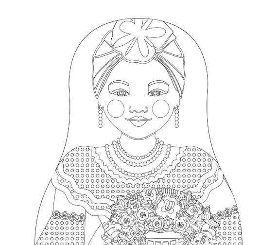 Violet Cuban Doll, Traditional Dress, Coloring Sheet Printable