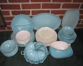 Vintage Mid Century Modern Large 69 pc Set Melmac Turquoise and White Melamine Dinnerware Set