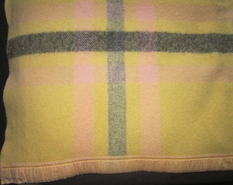 Vintage 1940s/50s Wool Yellow Pink and Gray Camp Blanket