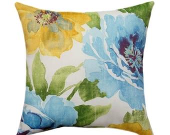 Richloom Solarium Muree Sunblue Floral Outdoor Decorative Pillow Free Shipping