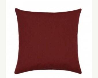 Red Sunbrella Throw Pillow, Red Outdoor Pillow, Sunbrella Canvas Henna Outdoor Pillow, Solid Henna Deck Pillow, Henna Red Cushion