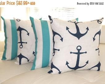 Nautical Pillow - Anchors Navy Blue and Deck Stripe Ocean Aqua OUTDOOR Decorative Throw Pillow - 4 Pack - Free ship