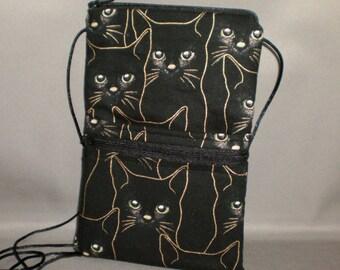 Smart Phone Purse - Passport Purse - Sling Bag - Hipster - Wallet on a String - Cats - Metallic