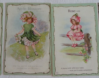 Flower Girls From Last Century such as Apple Blossoms and the Legend of the Dogwood in Postcard Lot No 104