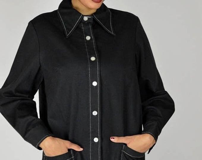 sale Vintage Jacket, Black Shirt, Black Smock, Light Weight, Black Jacket, Black Top, Goth Jacket, 60s Jacket, Spring Jacket, Summer Jacket