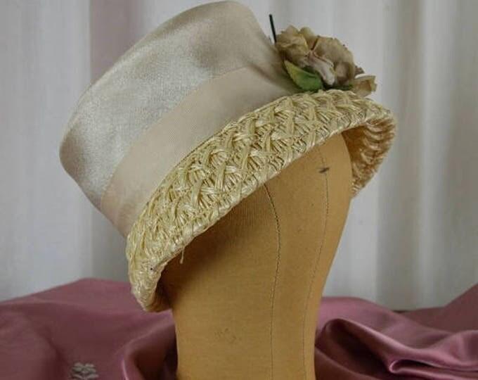 sale Vintage Hat, Bucket Hat, Beige Hat, Millinery Hat, Straw Hat, Tea Party, Downton Abbey, Bucket Hat, Edwardian Hat, Wedding Hat, Woven H