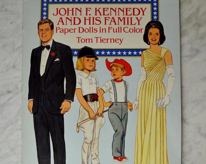 sale John F Kennedy and His Family Paper Dolls in Full Color Tom Tierney, Paper Doll Book, Kennedy Paper Dolls, Jackie O, Jackie Kennedy,