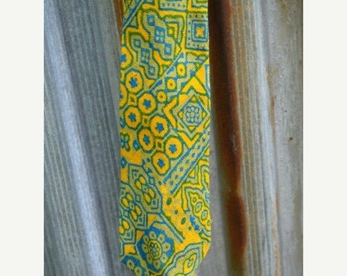 sale Men's Necktie, Yellow Tie, Silk Tie, Linen Tie, Men's Tie, Abstract Design Tie, Summer Tie, Preppy Tie, Gift for Him, Medium Width Tie,