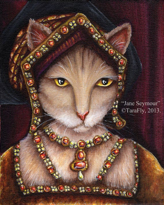 Jane Seymour Tudor Cat Fine Art Print