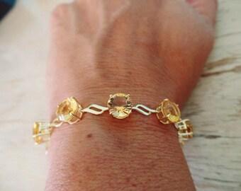 CITRINE 10K Bracelet Yellow Gold Gemstone November Birthstone Estate Fine Jewelry