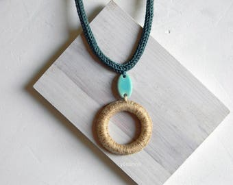 Long necklace - Pendant necklace -  Linen beige - Black - Teal green - Turquoise - Gift for woman.