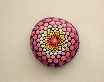 Mandala stones Etsy-ooak 3D dot art-bohemian-summer gift ideas-yoga meditation art-ombre-purple pink coral yellow-dotillism pointillism-Zen
