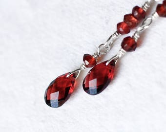 Garnet Earrings - Oxidized Sterling Silver Earrings - Garnet Jewelry - Red Earrings - Handmade - Natural - January Birthstone - Xmas Gift