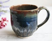 15 oz. Stoneware Mug with Dark Brown and Blue Glazes Handmade Stoneware Coffee Cup Made in USA Ready to Ship