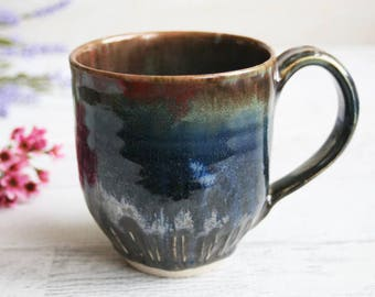 15 oz. Stoneware Mug with Dark Brown and Blue Glazes Handmade Stoneware Coffee Cup Made in USA Ready to Ship