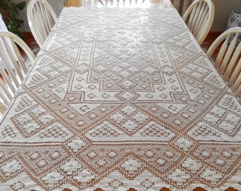 vintage hand crocheted tablecloth, ivory linen, table linens, home decor, rectangular, dining and entertaining