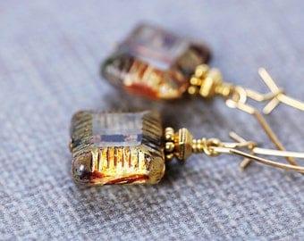 Smokey Brown Earrings | Dangle Earrings | Neutral Earrings | Czech Glass Drop Earrings | Gift for Mom | Gold Earrings | Simple Earrings