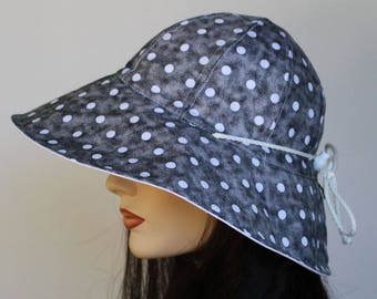 Reversible Cottage Hat wide brim sun hat in black polka dots plus adjustable fit or chinstrap great for boating