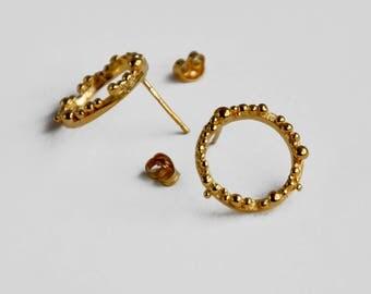 Medium hoop bubble ear studs in gold plated silver – hoop earrings – birthday present – Valentines gift – anniversary gift