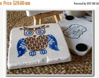 XMASINJULYSale Royal Blue Owl Tile Coasters - Owl Home Decor - Set of 4 - Ready to Ship