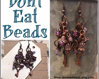 Purple key earrings #17aug806
