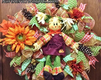 SALE & FREE SHIPPING Scarecrow Girl Floral Pine Cones - Welcome Door Wreath