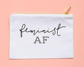 feminist AF, feminism, feminist, girl gang, girl power, cosmetic bag, girl pwr, girl boss, makeup bag, gift for her, feminist shirt