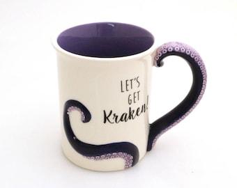 Octopus mug, let's get kraken, octopus art, tentacle, hp lovecraft, large 16 oz mug with tentacle handle