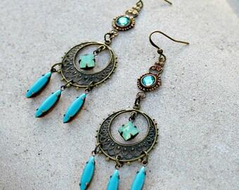 Aqua Green Bohemian Chandelier Earrings, Vintage Crystal Dangles