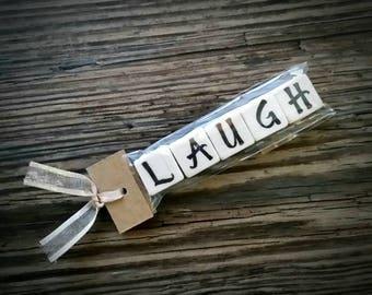 LAUGH Tumbled Stone miniMagnet Word Strip
