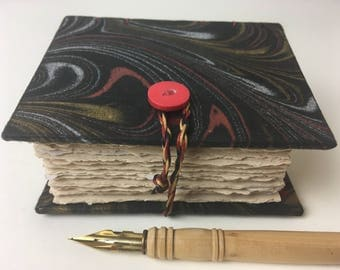 Small marbled journal, pocket journal, Coptic stitched journal with marbeld paper and fine art papers