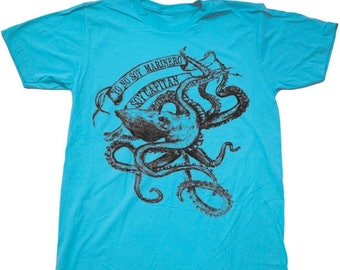 SUMMER SALE La Bamba Octopus- Mens T Shirt, Unisex Tee, Cotton Tee, Handmade graphic tee, Bicycle shirt, Bike Tee, sizes xs-xxl
